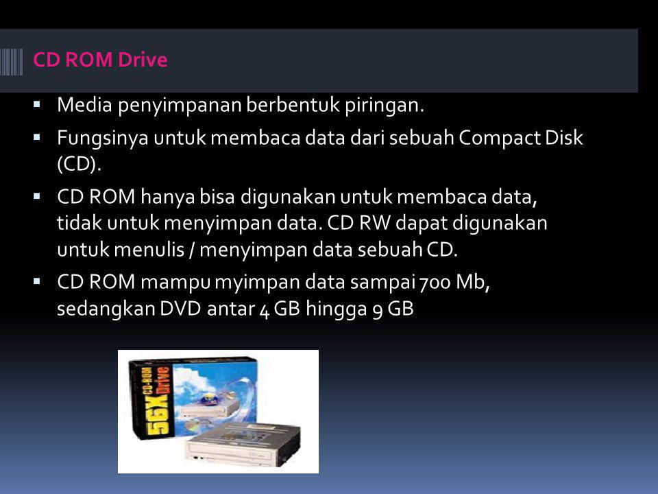CD ROM Drive Media penyimpanan berbentuk piringan. Fungsinya untuk membaca data dari sebuah Compact Disk (CD).