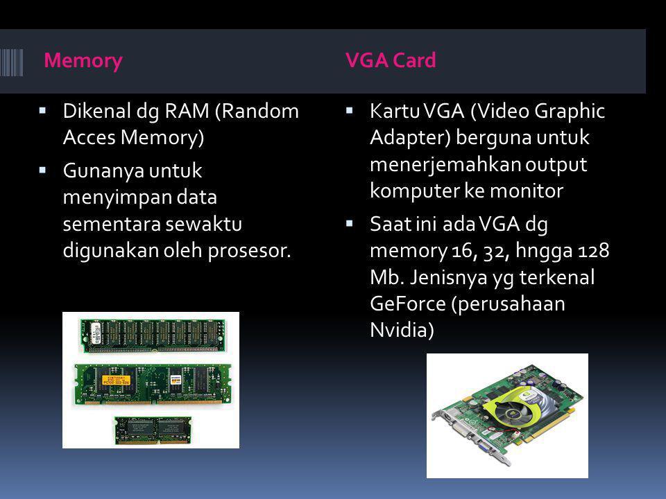 Memory VGA Card. Dikenal dg RAM (Random Acces Memory) Gunanya untuk menyimpan data sementara sewaktu digunakan oleh prosesor.