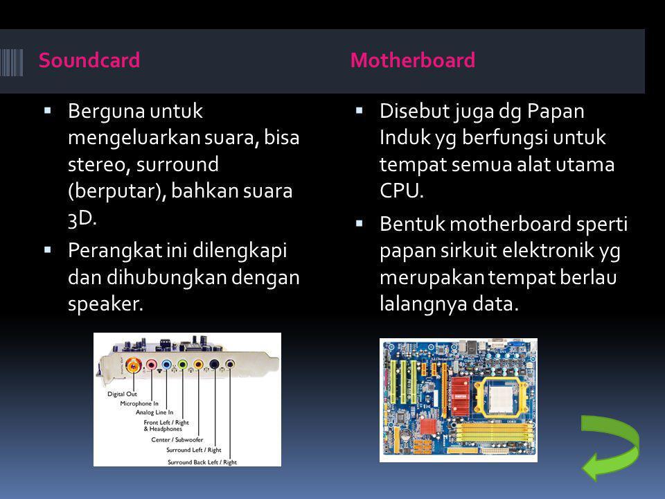Soundcard Motherboard. Berguna untuk mengeluarkan suara, bisa stereo, surround (berputar), bahkan suara 3D.