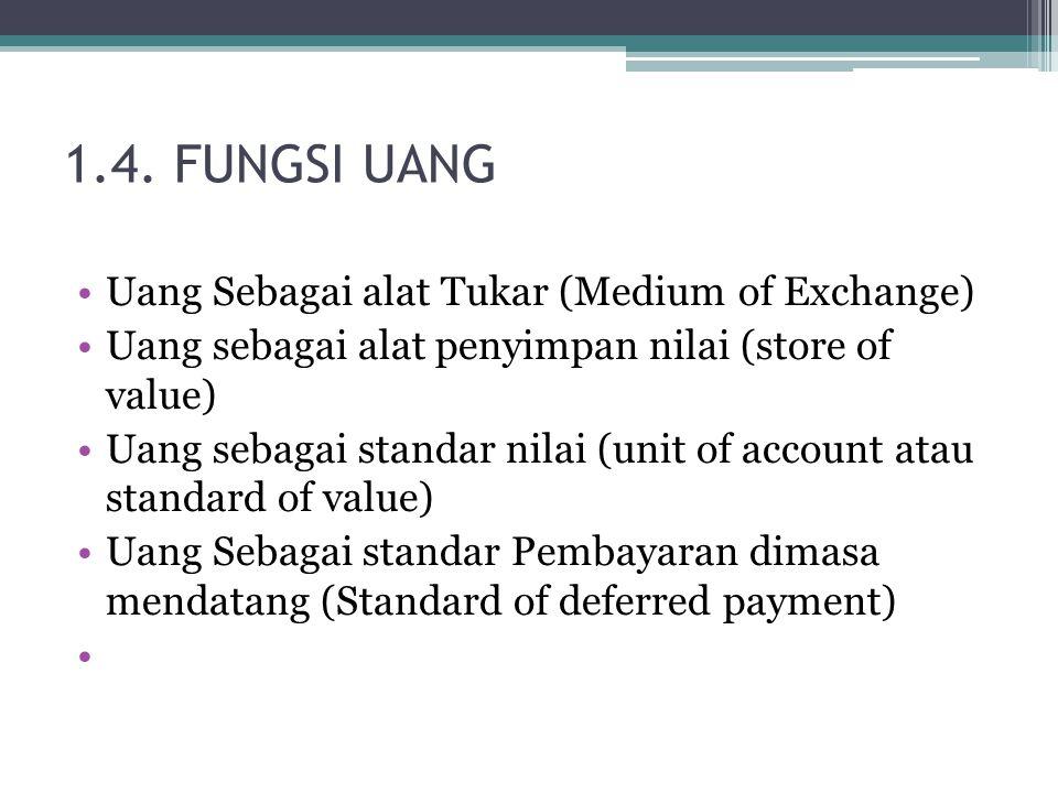 1.4. FUNGSI UANG Uang Sebagai alat Tukar (Medium of Exchange)