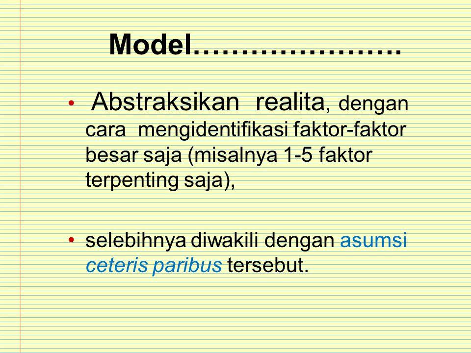 Model…………………. Abstraksikan realita, dengan cara mengidentifikasi faktor-faktor besar saja (misalnya 1-5 faktor terpenting saja),