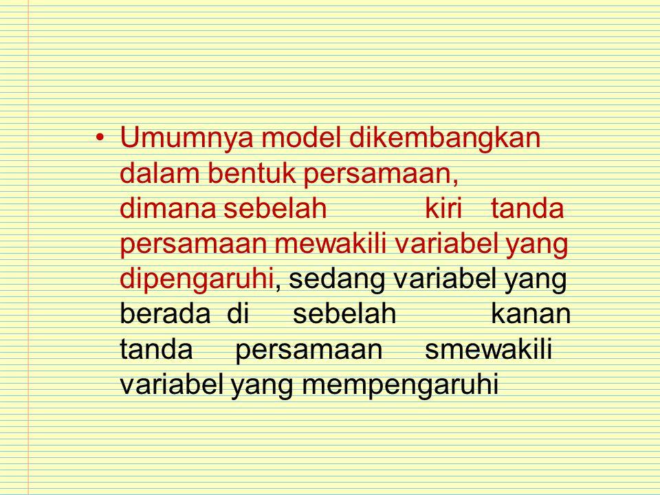 Umumnya model dikembangkan dalam bentuk persamaan,. dimana sebelah