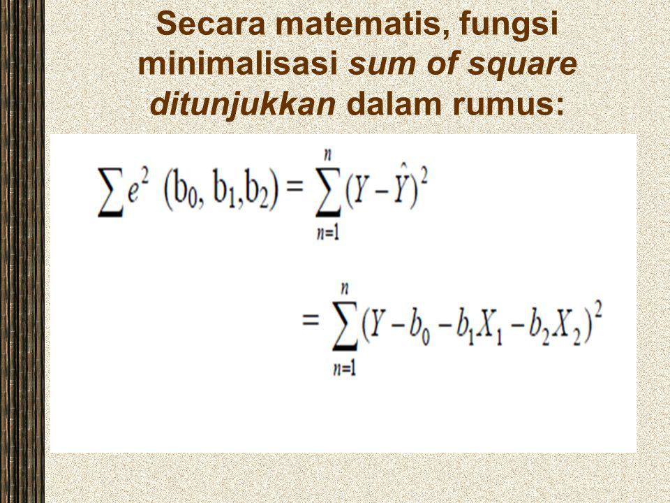 Secara matematis, fungsi minimalisasi sum of square ditunjukkan dalam rumus: