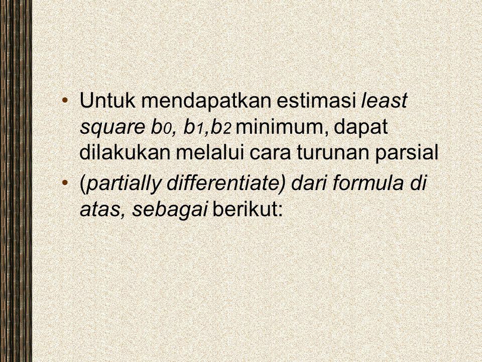 Untuk mendapatkan estimasi least square b0, b1,b2 minimum, dapat dilakukan melalui cara turunan parsial