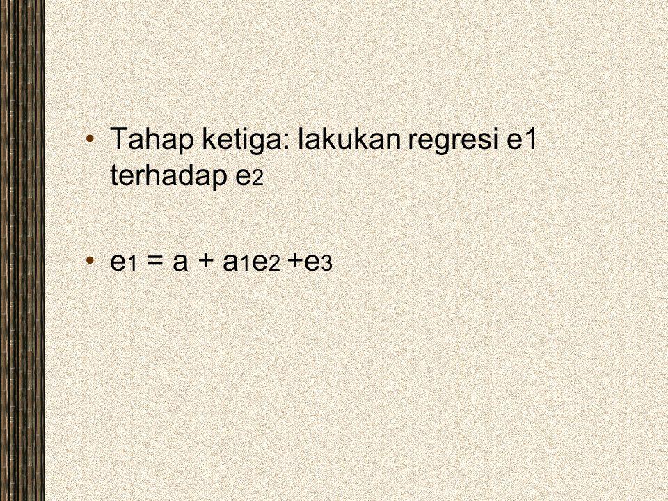 Tahap ketiga: lakukan regresi e1 terhadap e2