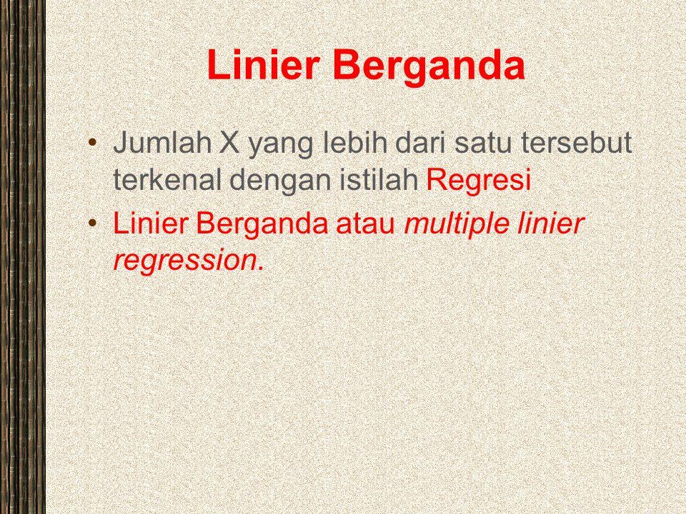 Linier Berganda Jumlah X yang lebih dari satu tersebut terkenal dengan istilah Regresi.