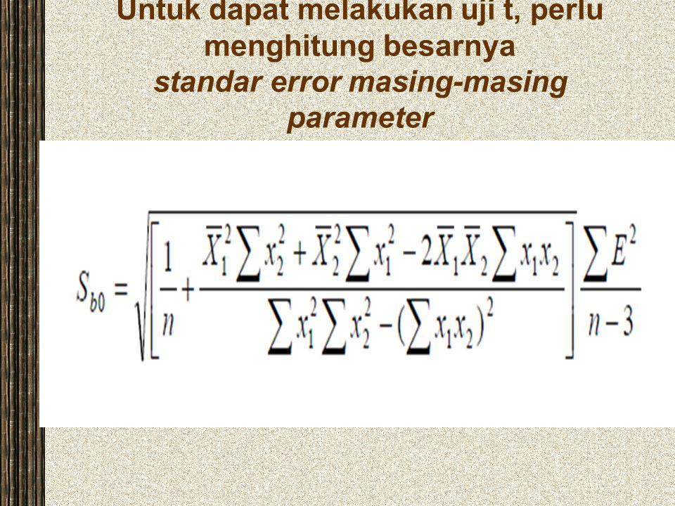 Untuk dapat melakukan uji t, perlu menghitung besarnya standar error masing-masing parameter