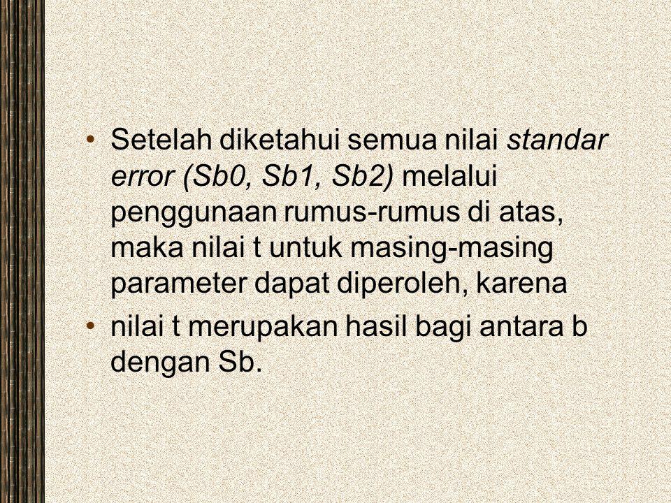 Setelah diketahui semua nilai standar error (Sb0, Sb1, Sb2) melalui penggunaan rumus-rumus di atas, maka nilai t untuk masing-masing parameter dapat diperoleh, karena