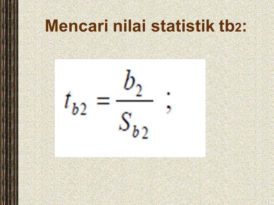 Mencari nilai statistik tb2: