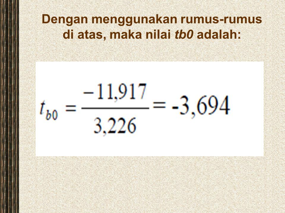 Dengan menggunakan rumus-rumus di atas, maka nilai tb0 adalah: