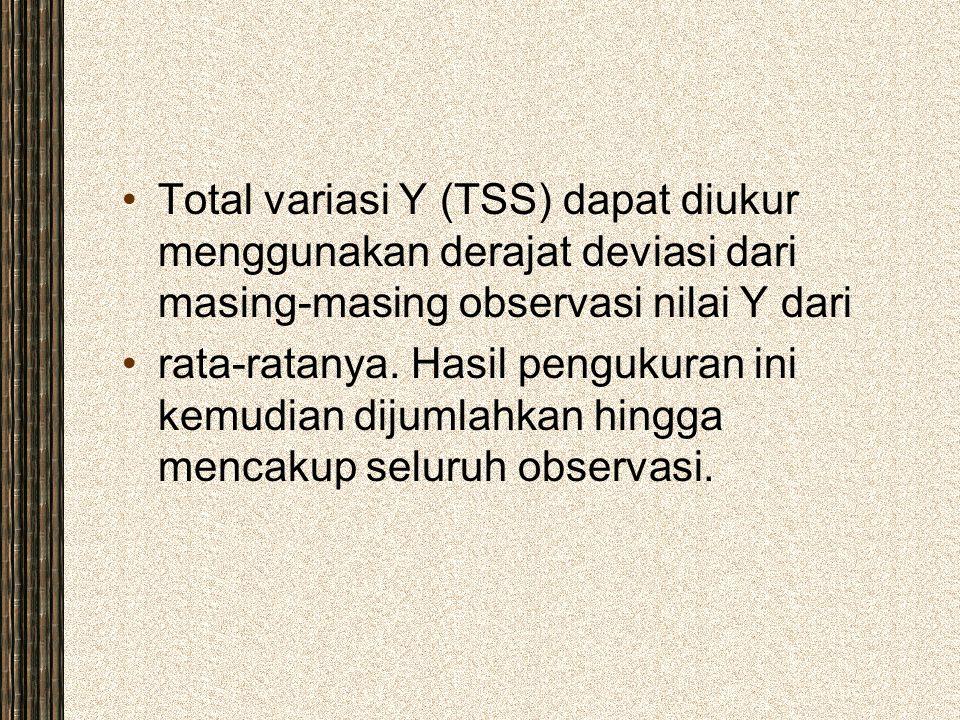 Total variasi Y (TSS) dapat diukur menggunakan derajat deviasi dari masing-masing observasi nilai Y dari
