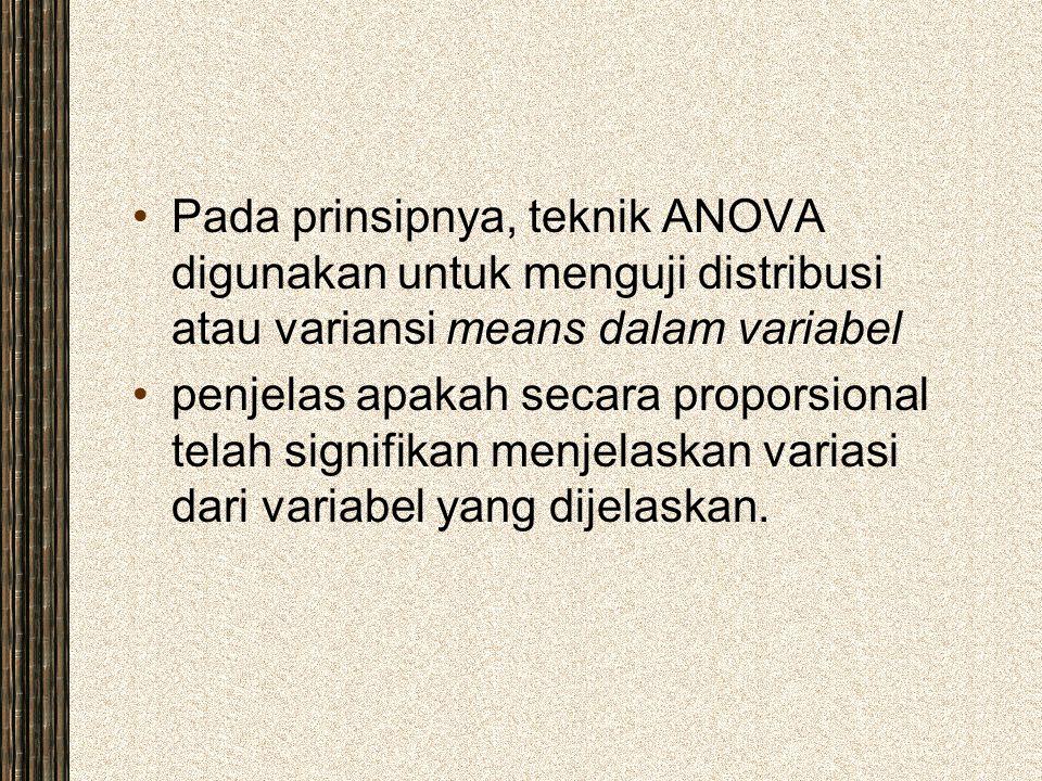 Pada prinsipnya, teknik ANOVA digunakan untuk menguji distribusi atau variansi means dalam variabel