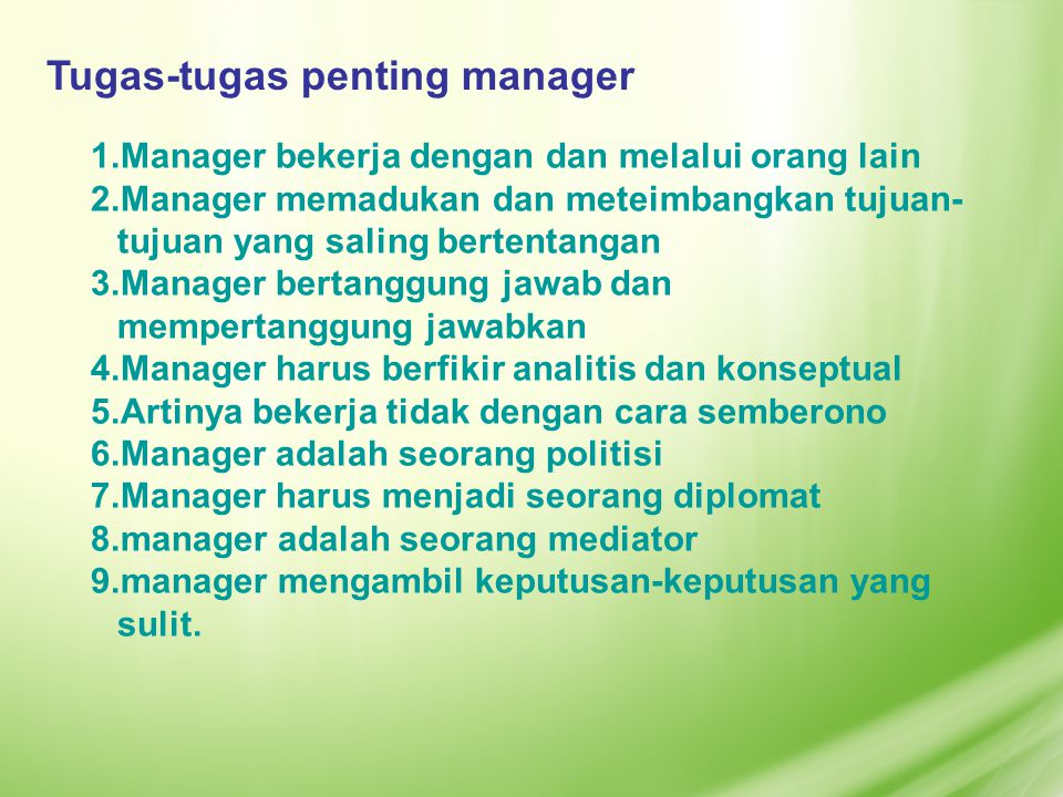 Tugas-tugas penting manager