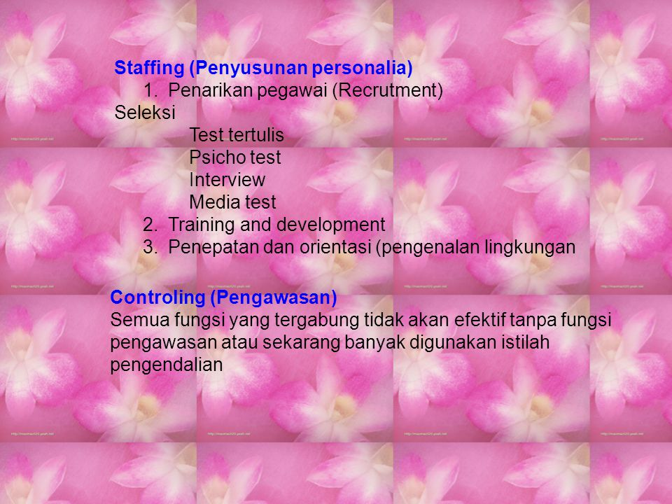 Staffing (Penyusunan personalia)