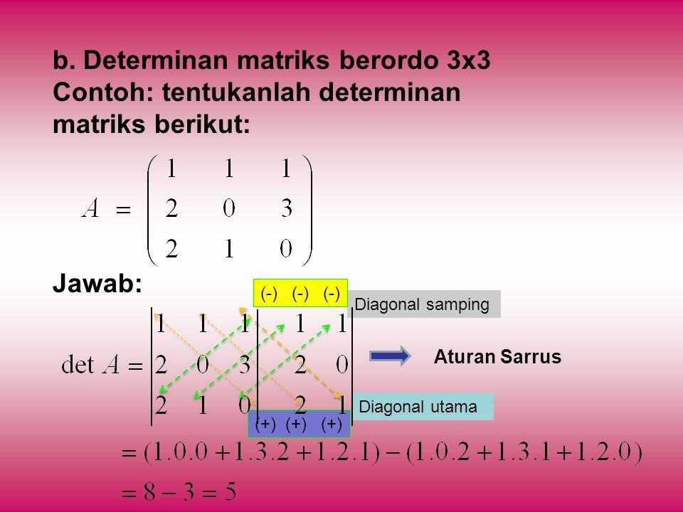 b. Determinan matriks berordo 3x3