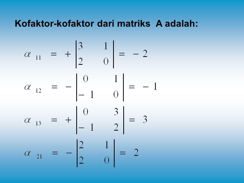 Kofaktor-kofaktor dari matriks A adalah:
