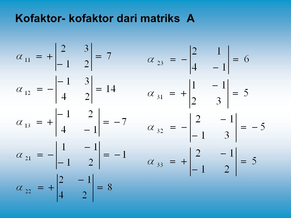 Kofaktor- kofaktor dari matriks A