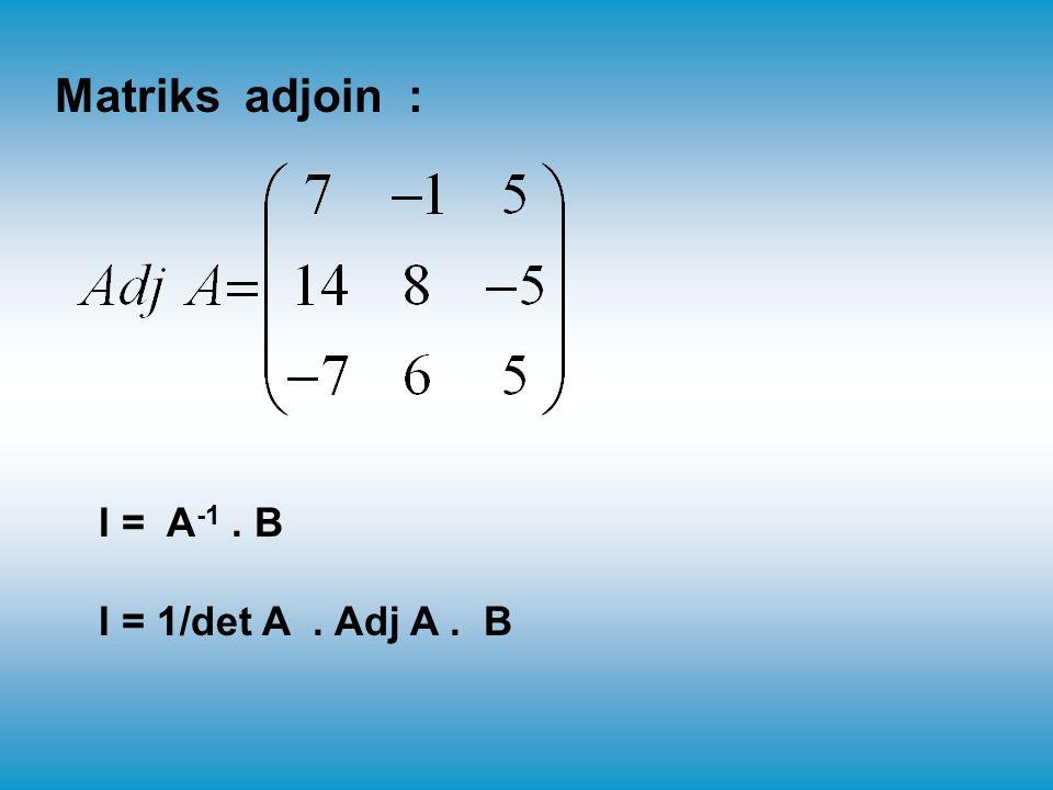 Matriks adjoin : I = A-1 . B I = 1/det A . Adj A . B