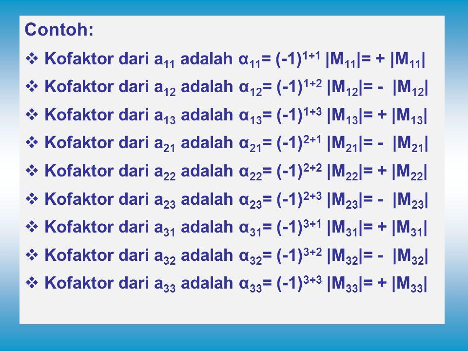 Contoh: Kofaktor dari a11 adalah α11= (-1)1+1 |M11|= + |M11|