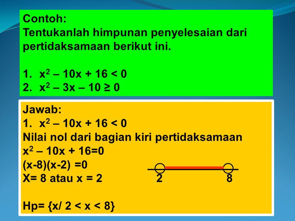 Contoh: Tentukanlah himpunan penyelesaian dari pertidaksamaan berikut ini. x2 – 10x + 16 < 0. x2 – 3x – 10 ≥ 0.