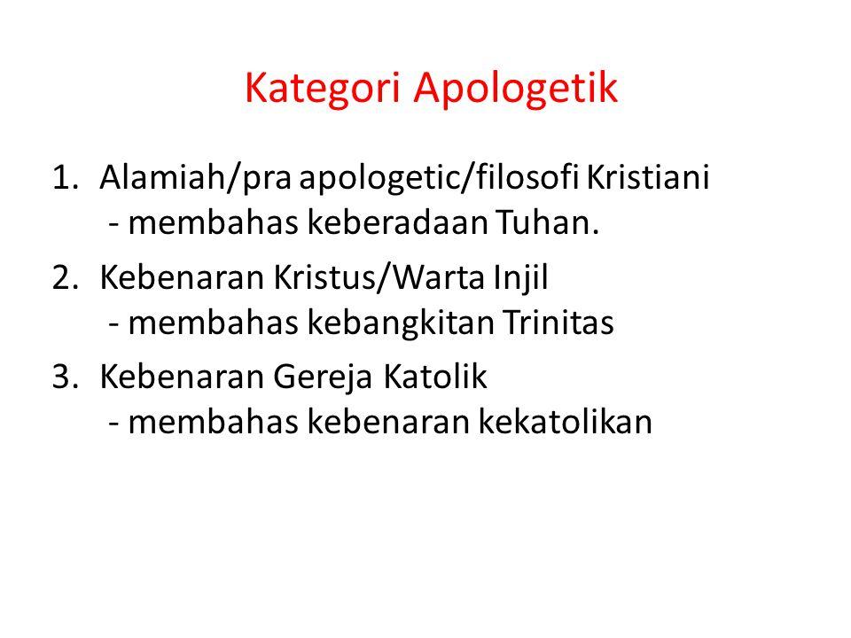 Kategori Apologetik Alamiah/pra apologetic/filosofi Kristiani - membahas keberadaan Tuhan.