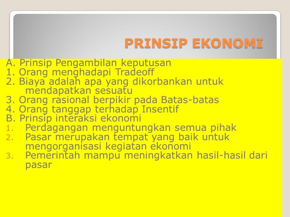 A. Prinsip Pengambilan keputusan 1. Orang menghadapi Tradeoff