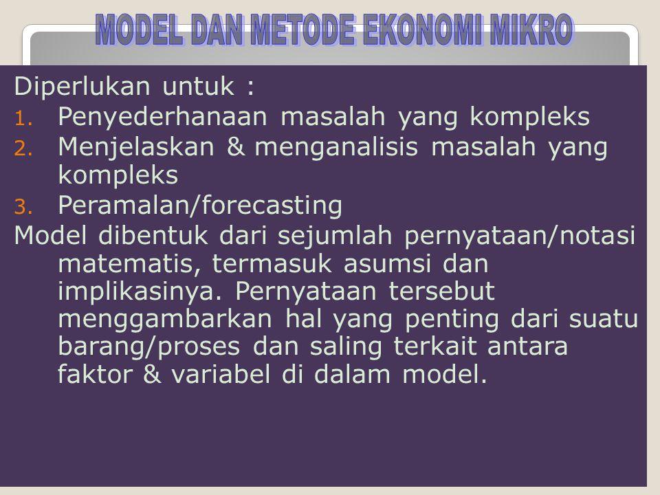 MODEL DAN METODE EKONOMI MIKRO
