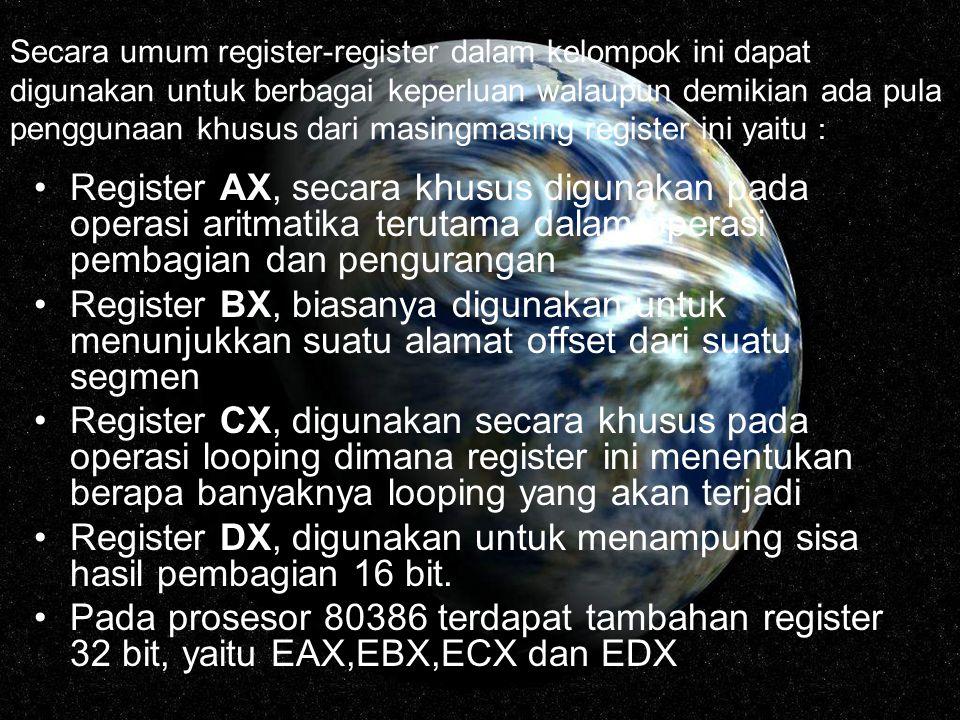 Register DX, digunakan untuk menampung sisa hasil pembagian 16 bit.