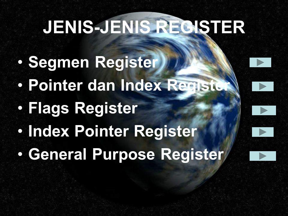 JENIS-JENIS REGISTER Segmen Register Pointer dan Index Register
