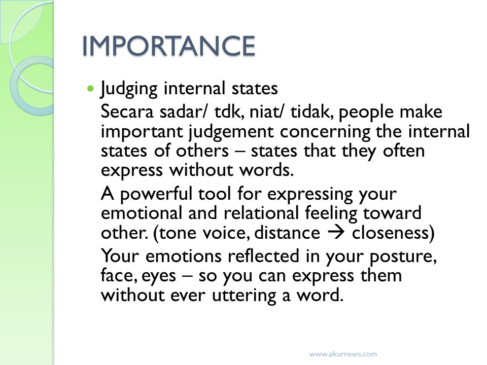 IMPORTANCE Judging internal states