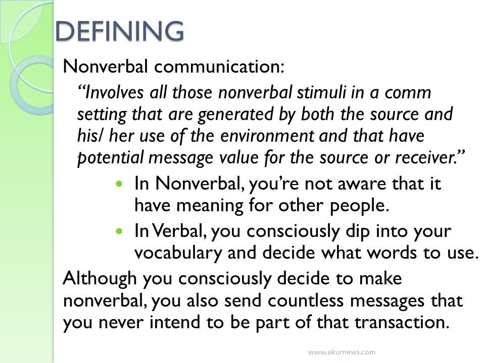 DEFINING Nonverbal communication: