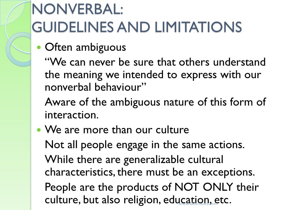 NONVERBAL: GUIDELINES AND LIMITATIONS