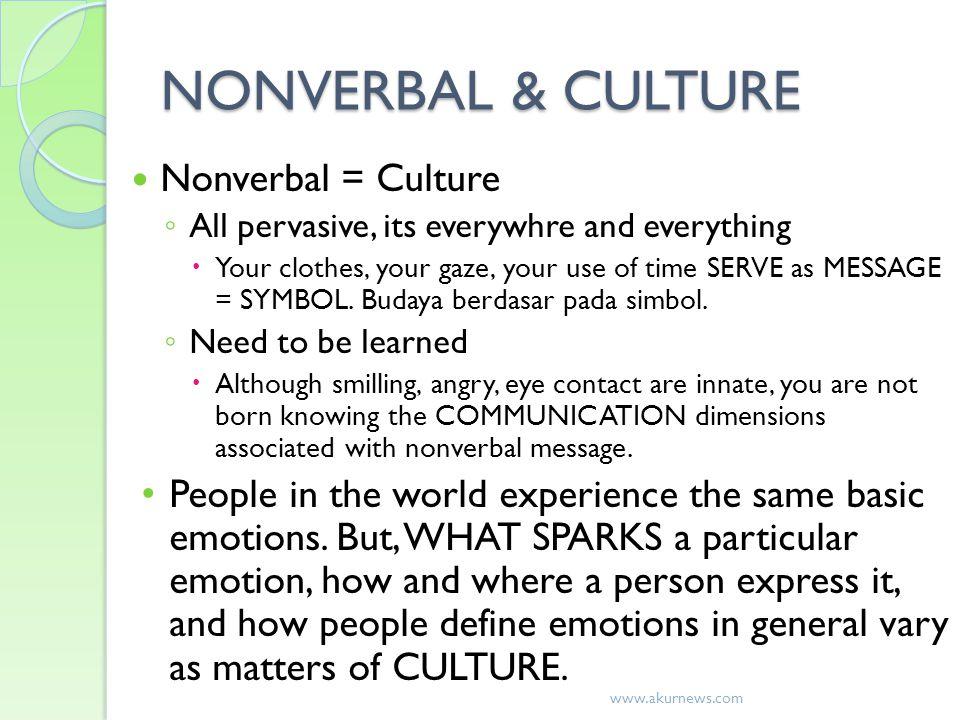 NONVERBAL & CULTURE Nonverbal = Culture