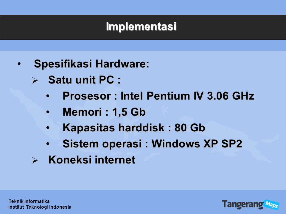 Spesifikasi Hardware: Satu unit PC :