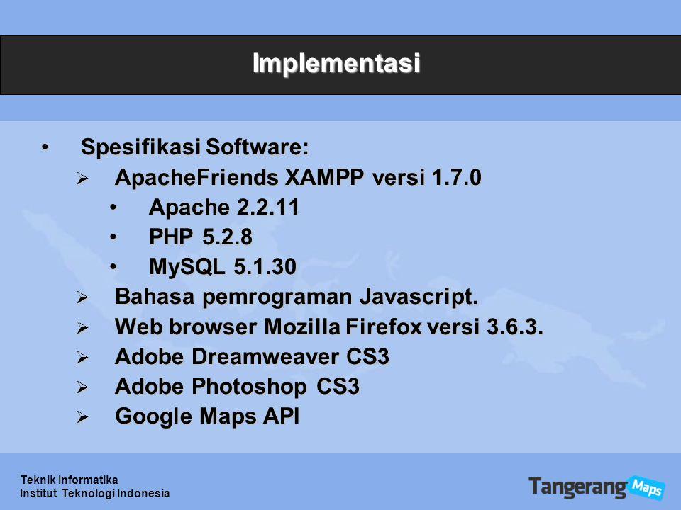 Implementasi Spesifikasi Software: ApacheFriends XAMPP versi 1.7.0
