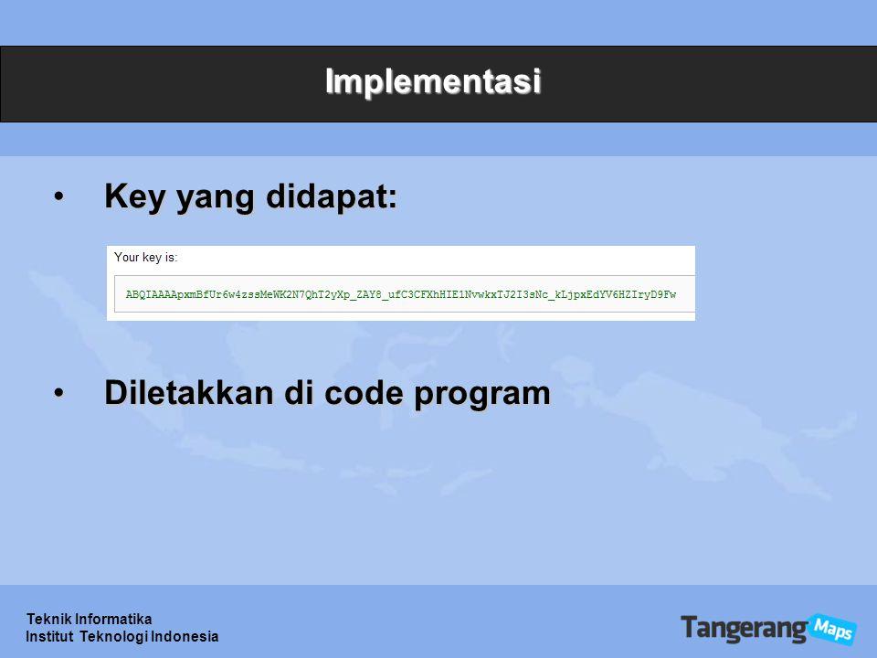 Diletakkan di code program