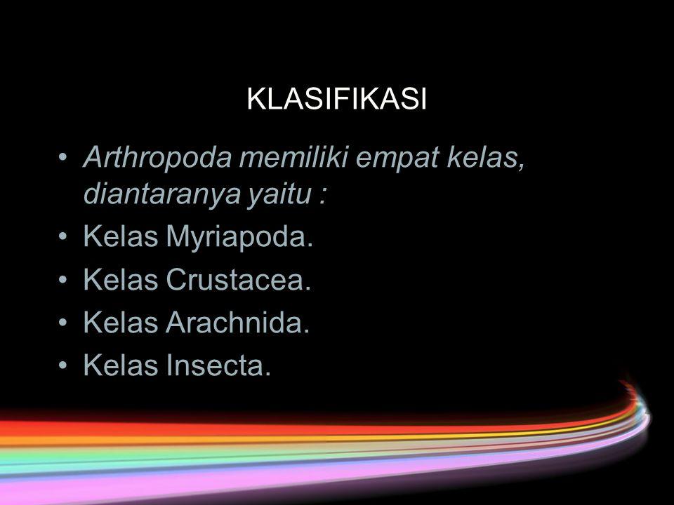 KLASIFIKASI Arthropoda memiliki empat kelas, diantaranya yaitu : Kelas Myriapoda. Kelas Crustacea.
