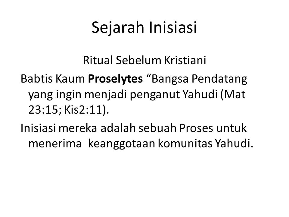 Sejarah Inisiasi