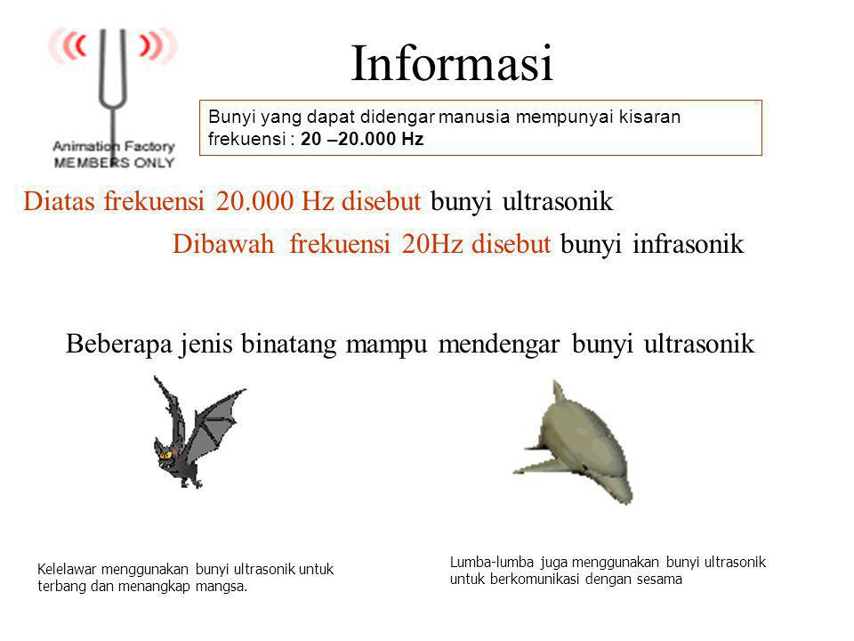 Informasi Diatas frekuensi 20.000 Hz disebut bunyi ultrasonik