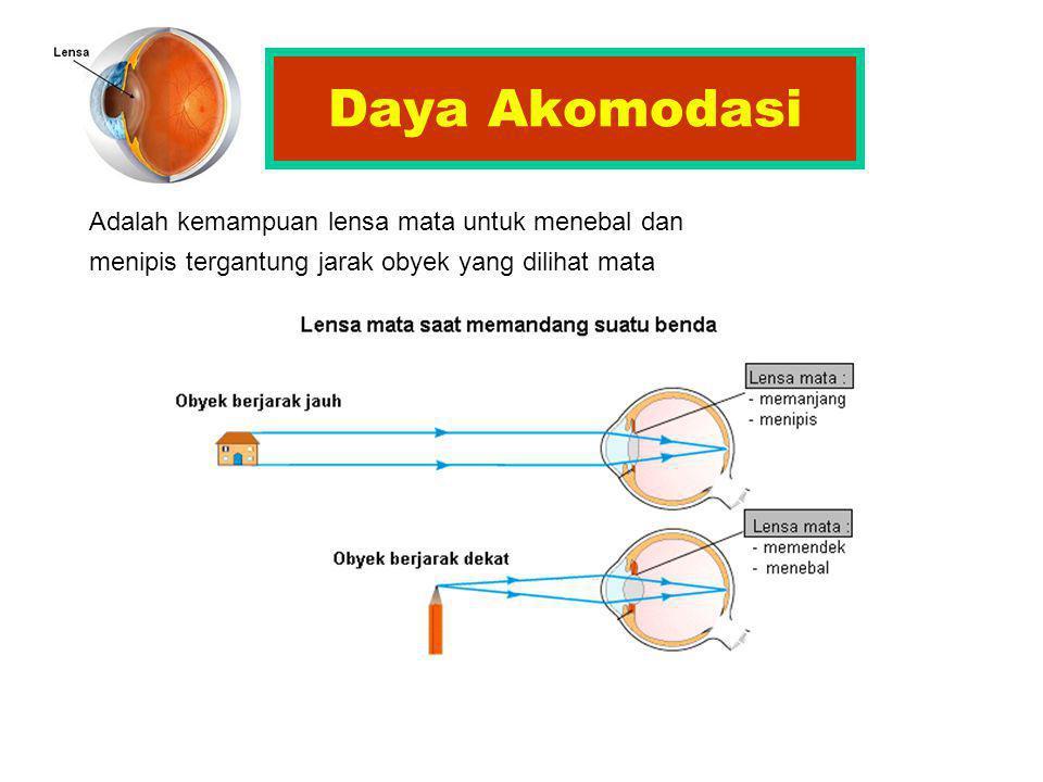 Daya Akomodasi Adalah kemampuan lensa mata untuk menebal dan menipis tergantung jarak obyek yang dilihat mata.