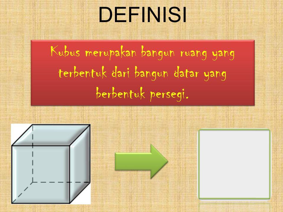 DEFINISI Kubus merupakan bangun ruang yang terbentuk dari bangun datar yang berbentuk persegi.