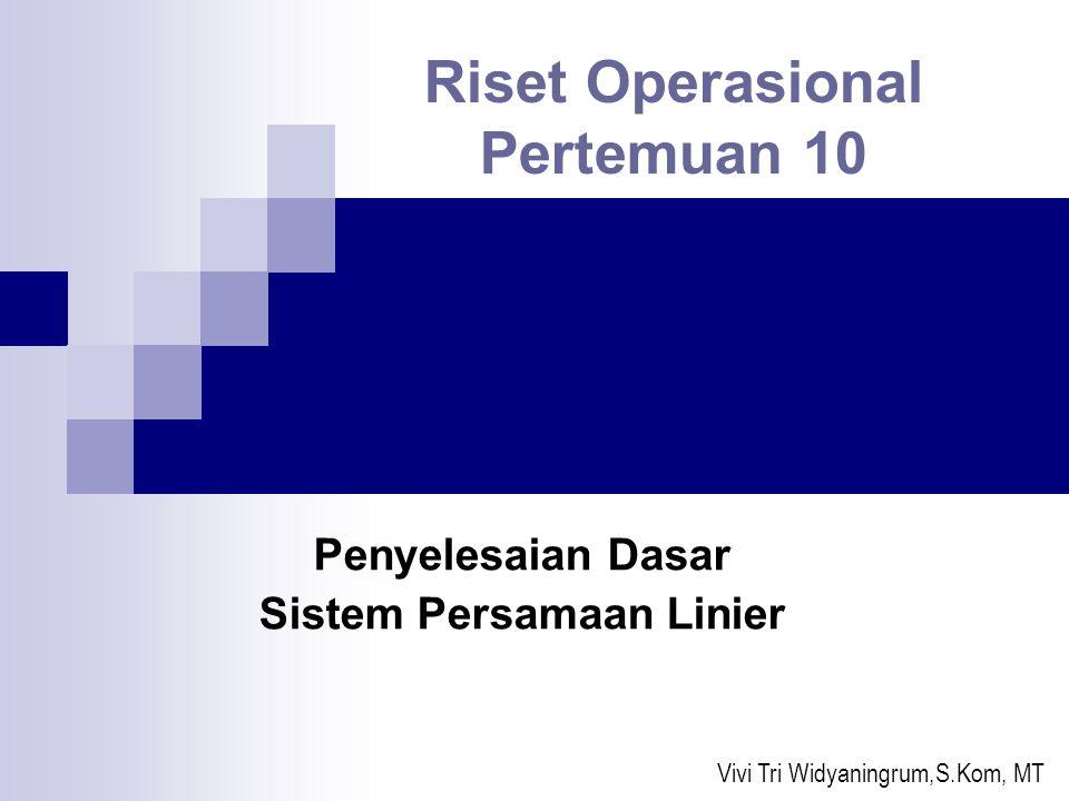 Riset Operasional Pertemuan 10