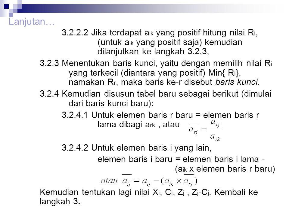 Lanjutan… 3.2.2.2 Jika terdapat aik yang positif hitung nilai Ri, (untuk aik yang positif saja) kemudian dilanjutkan ke langkah 3.2.3,
