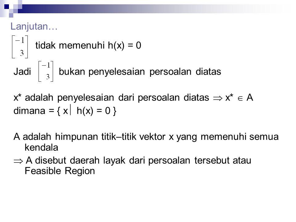 Lanjutan… tidak memenuhi h(x) = 0. Jadi bukan penyelesaian persoalan diatas. x* adalah penyelesaian dari persoalan diatas  x*  A.