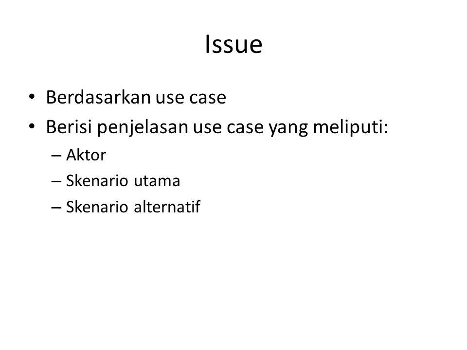Issue Berdasarkan use case Berisi penjelasan use case yang meliputi:
