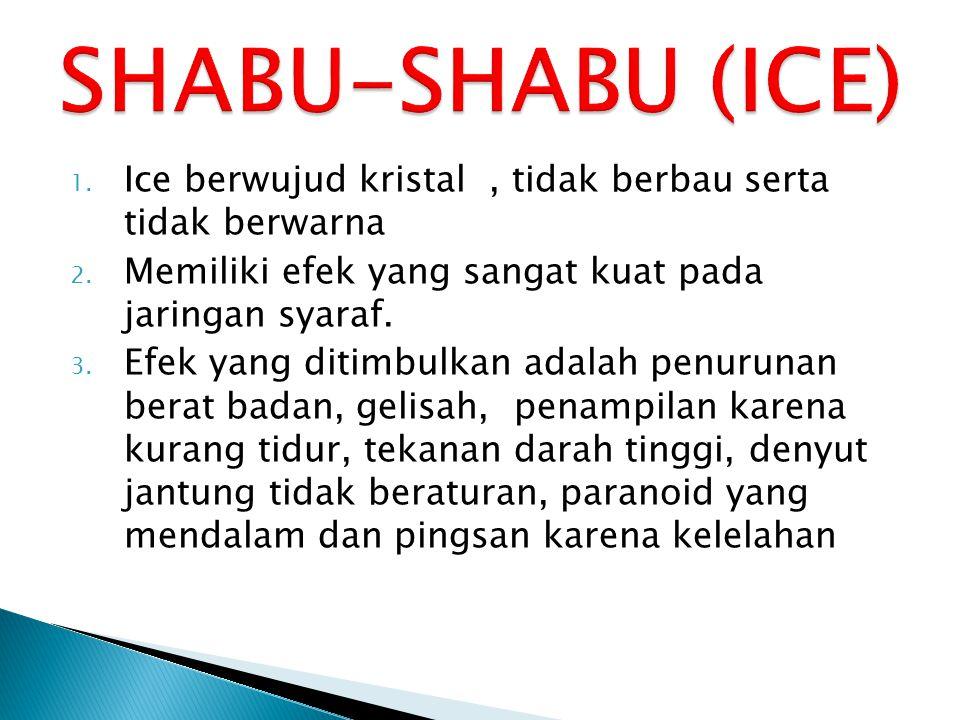 SHABU-SHABU (ICE) Ice berwujud kristal , tidak berbau serta tidak berwarna. Memiliki efek yang sangat kuat pada jaringan syaraf.