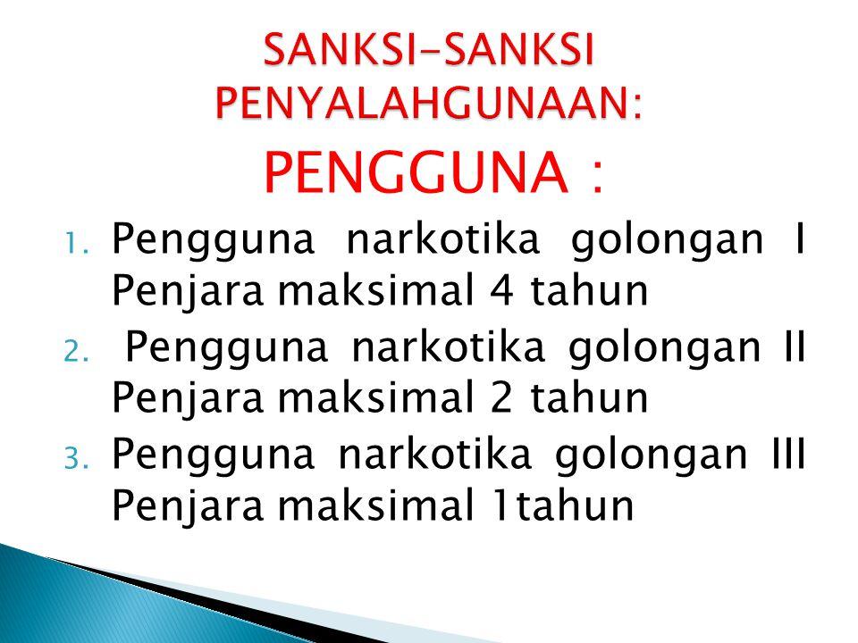 SANKSI-SANKSI PENYALAHGUNAAN: