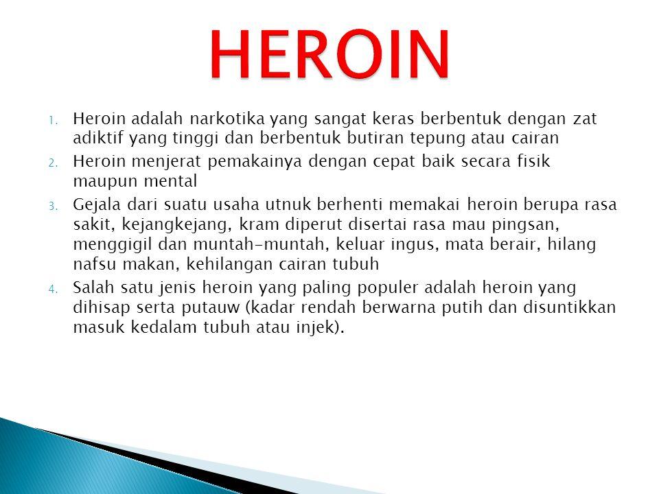 HEROIN Heroin adalah narkotika yang sangat keras berbentuk dengan zat adiktif yang tinggi dan berbentuk butiran tepung atau cairan.