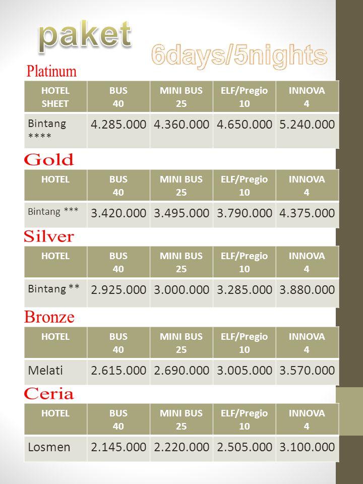 paket 6days/5nights Platinum Gold Silver Bronze Ceria 4.285.000