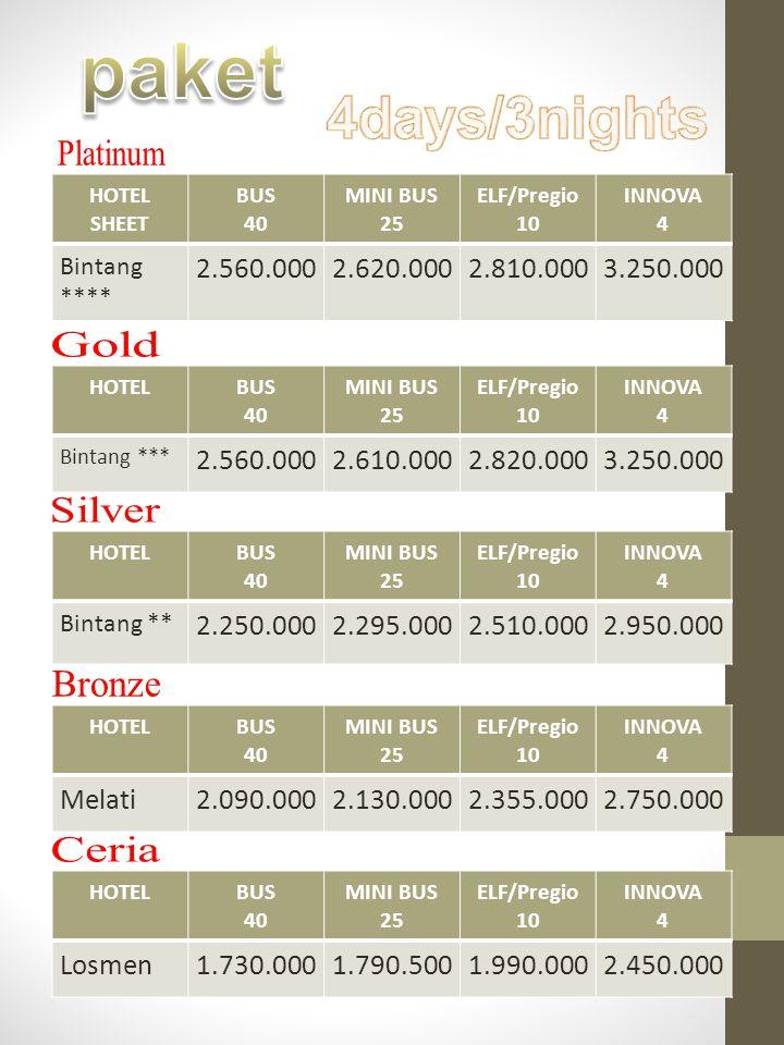 paket 4days/3nights Platinum Gold Silver Bronze Ceria 2.560.000